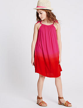 Dip Dye Pom-Pom Dress (3-14 Years), PINK MIX, catlanding