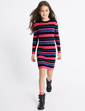Cotton Rich Knitted Dress (3-14 Years), MULTI, catlanding