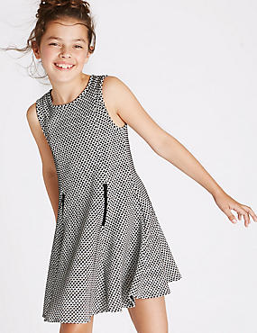 Textured Ponte Dress (3-14 Years), BLACK MIX, catlanding