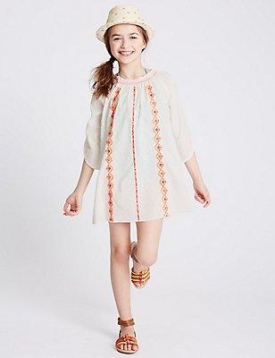 Pure Cotton Embellished Dress (3-14 Years), IVORY MIX, catlanding