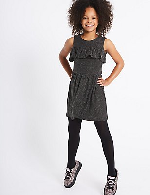 Frill Cold Shoulder Dress (3-14 Years), BLACK MIX, catlanding
