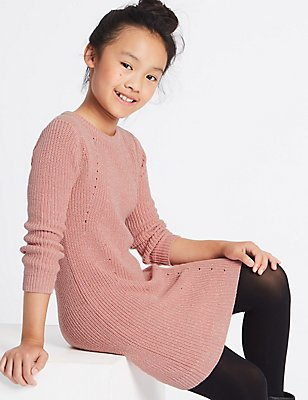 Knitted Dress (3-14 Years), ANTIQUE ROSE, catlanding