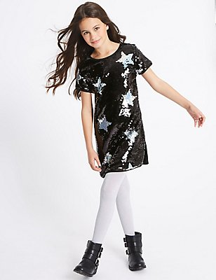 Star Sequin Short Sleeve Dress (3-14 Years), BLACK MIX, catlanding