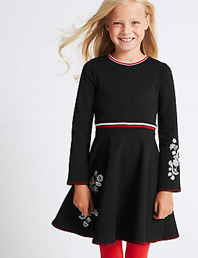 Embroidered Dress (3-14 Years), BLACK, catlanding