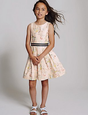 Pure Cotton Bird Print Prom Dress (3-14 Years), PALE PINK, catlanding