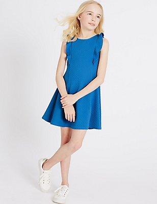 Ponte Textured Dress (3-14 Years), CORNFLOWER MIX, catlanding