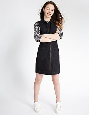 Denim Dress with Staynew™ (3-14 Years), BLACK DENIM, catlanding