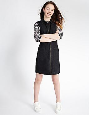 Denim Dress with Staynew™ (3-14 Years), BLACK DENIM, catlanding