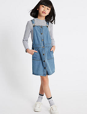 2 Piece Top & Dress Outfit (3-14 Years), MED BLUE DENIM, catlanding