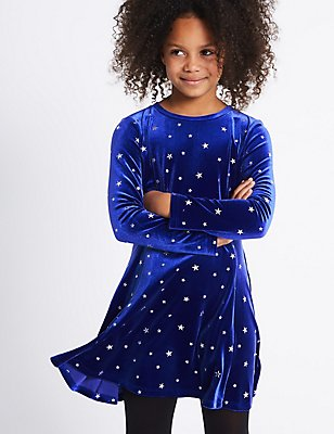 All Over Print Velvet Dress (3-14 Years), BLUE, catlanding