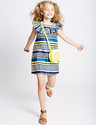 Pure Cotton Striped Dress (3-14 Years), MULTI, catlanding