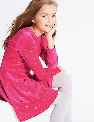 All Over Star Print Velvet Dress (3-14 Years), PINK, catlanding