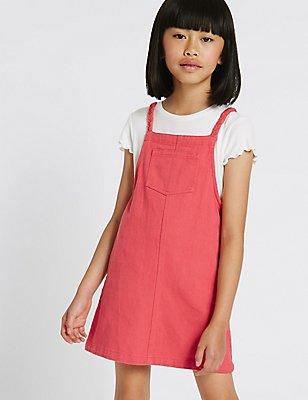 Denim Pinny Dress (3-14 Years), DARK RED, catlanding