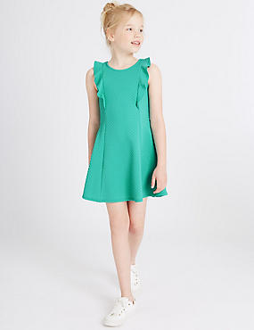 Frill Textured Dress (3-14 Years), JADE, catlanding