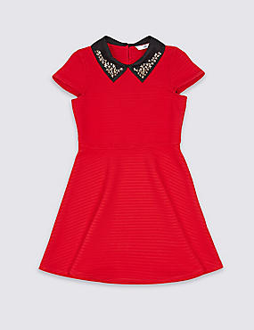 Embellished Collar Dress (3-14 Years), RED MIX, catlanding