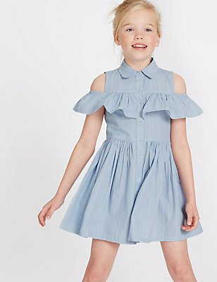 Pure Cotton Cold Shoulder Striped Dress (3-14 Years), BLUE MIX, catlanding