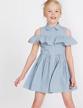 Pure Cotton Cold Shoulder Striped Dress (3-14 Years), BLUE MIX, catlanding