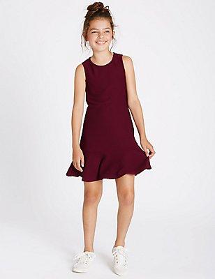 Fluted Hem Dress (3-14 Years), CRANBERRY, catlanding