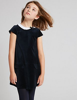 Cotton Velvet Dress with Stretch (3-14 Years), DARK NAVY, catlanding