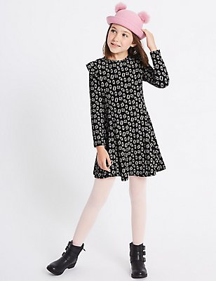 Printed Dress with Stretch (3-14 Years), BLACK MIX, catlanding