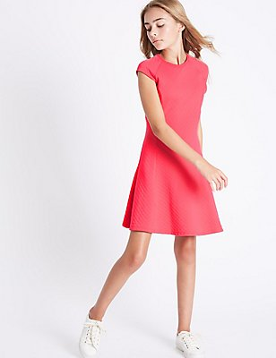Quilted Dress (3-14 Years), CERISE, catlanding