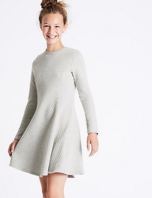 Quilted Dress (3-14 Years), GREY MARL, catlanding
