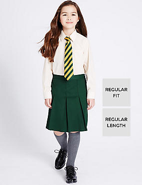 Girls' Traditional Pleated Skirt with Triple Action Stormwear™, GREEN, catlanding