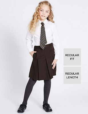 Girls' Traditional Pleated Skirt with Triple Action Stormwear™, BROWN, catlanding