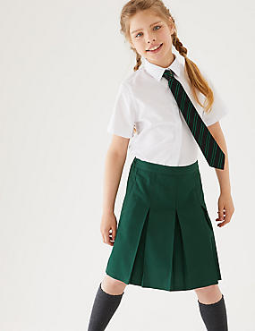 Girls' Skirt with Permanent Pleats, GREEN, catlanding