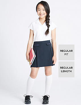 Junior Girls' Embroidered Skirt, NAVY, catlanding