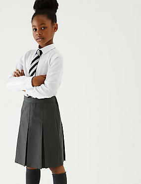 Girls' Slim Fit Skirt with Permanent Pleats, GREY, catlanding