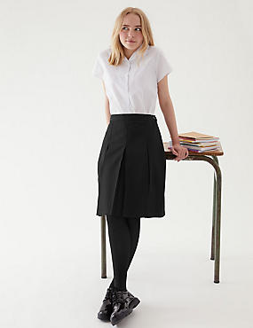 Girls' Slim Fit Skirt with Permanent Pleats, BLACK, catlanding