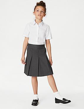 PLUS Girls' Skirt with Permanent Pleats, GREY, catlanding