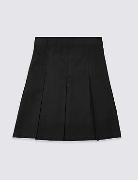 PLUS Girls' Skirt with Permanent Pleats, BLACK, catlanding