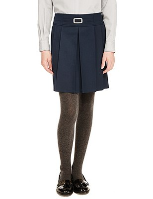 Girls' Buckle Detail Pleated Skirt with Triple Action Stormwear™, NAVY, catlanding