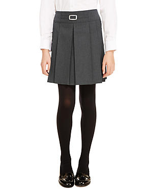 Girls' Buckle Detail Pleated Skirt with Triple Action Stormwear™, GREY, catlanding