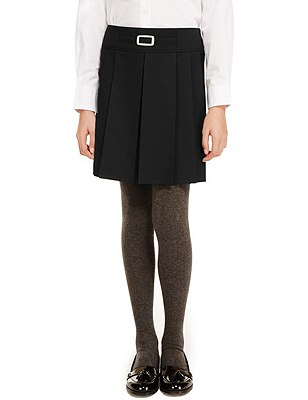 Girls' Buckle Detail Pleated Skirt with Triple Action Stormwear™, BLACK, catlanding