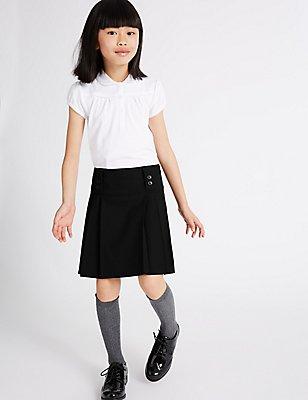 Girls' Skirt with Permanent Pleats, BLACK, catlanding