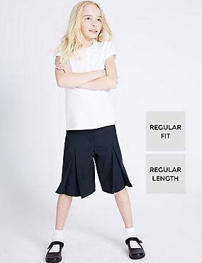 Girls' Culottes with Adjustable Waist, NAVY, catlanding