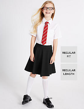 Girls' Skater Skirt with Crease Resistant, BLACK, catlanding