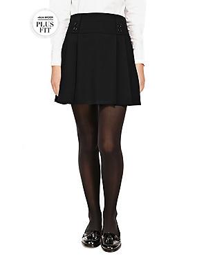 PLUS Girls' Permanent Pleat Skirt, BLACK, catlanding