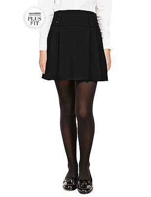 Plus Fit Girls' Crease Resistant Adjustable Waist Traditional Skirt with Permanent Pleat & Stormwear™ , BLACK, catlanding