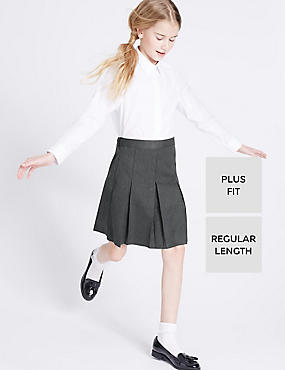 Plus Fit Crease Resistant Girls' Traditional Skirt with Permanent Pleats & Stormwear™, GREY, catlanding