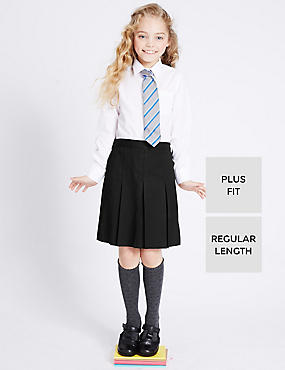 Plus Fit Crease Resistant Girls' Traditional Skirt with Permanent Pleats & Stormwear™, BLACK, catlanding