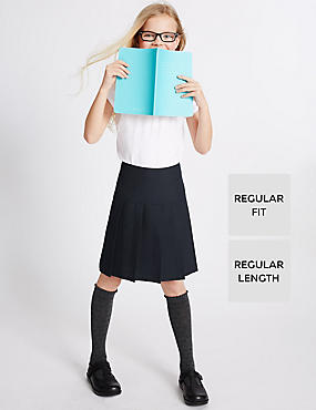Girls' 2 Pack Permanent Pleat Skirt with Triple Action Stormwear™, NAVY, catlanding