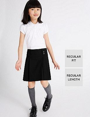 Girls' Permanent Pleat Skirt with Triple Action Stormwear™ (Older Girls), BLACK, catlanding