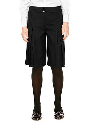 Senior Girls' Crease Resistant Culottes with Adjustable Waist & Triple Action Stormwear™ (Older Girls), BLACK, catlanding