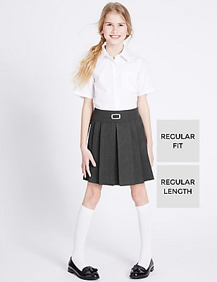 Girls' Crease Resistant Adjustable Waist Buckle Pleated Skirt with Triple Action Stormwear™, GREY, catlanding
