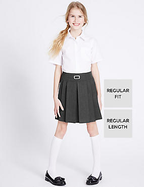 Girls' Pleated Skirt with Crease Resistant, GREY, catlanding