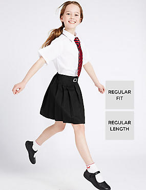 Girls' Pleated Skirt with Crease Resistant, BLACK, catlanding